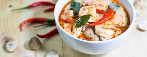 Tom yum kung, and condiment, style blur,  Selec photo