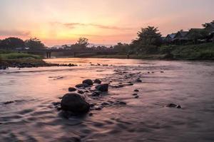 Twilight nature dam.