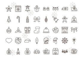 Christmas line-art icon collection