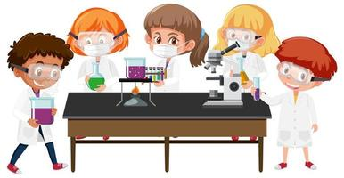 Set of kids in scientist coats in lab