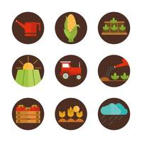 Agriculture and farming flat icon set
