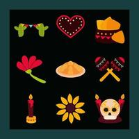 Day of the Dead celebration flat icon set