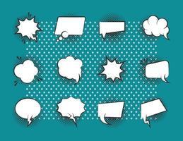 conjunto de iconos de burbujas de discurso de estilo pop-art