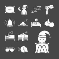 conjunto de iconos de silueta de calidad de sueño