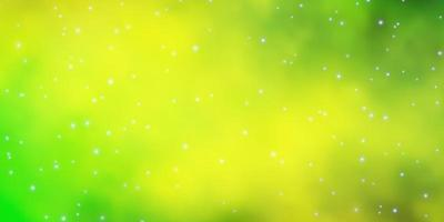 Green and yellow background with colorful stars.
