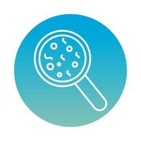 Bacteria culture with magnifying glass block style icon