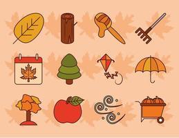conjunto de iconos de la temporada de otoño