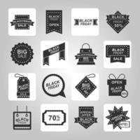Black Friday sale icon collection vector