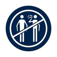 Persons coughing sick in denied symbol block silhouette style