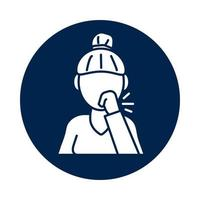 Woman coughing sick block silhouette style icon vector