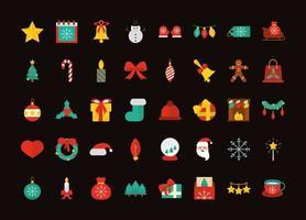 colección de iconos planos de navidad