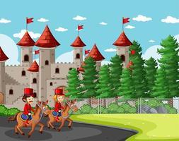 Escena de cuento de hadas con castillo y soldados reales.