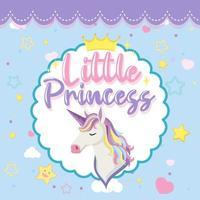 Little princess logo with cute unicorn head