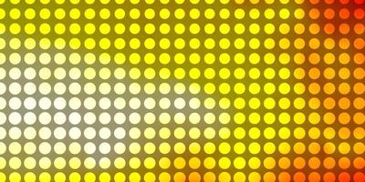 Yellow and red background with circles.