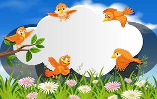 Happy birds in nature background cloud frame vector