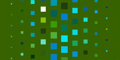 Blue and green layout with squares.