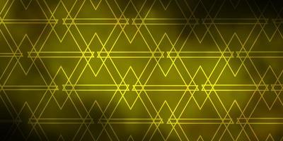 Dark green and yellow background with triangles.