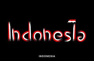 Indonesian red and white painted brush vector