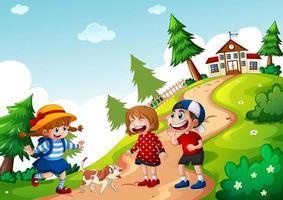 Happy three kids going to school scene vector