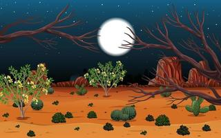 Wild desert landscape at night scene vector