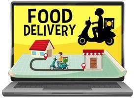 Aplicación de entrega de alimentos en pantalla.