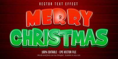 Merry Christmas text, cartoon style editable text effect on red color wooden background