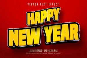 feliz año nuevo texto, estilo de dibujos animados vector