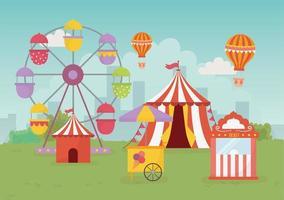 Banner de recreación de feria, carnaval y entretenimiento.