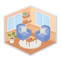 Sweet home interior, isometric corner composition