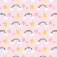 Rainbows, flowers, and stars pattern background vector