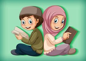 Muslim students reading the book vector