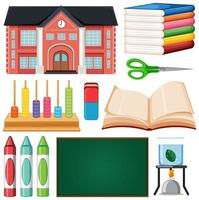 conjunto de elementos escolares