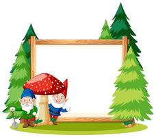 Gnome and mushroom with blank banner