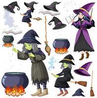 conjunto de objetos de mago o brujas