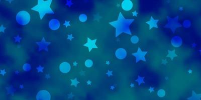 Blue pattern with circles, stars.