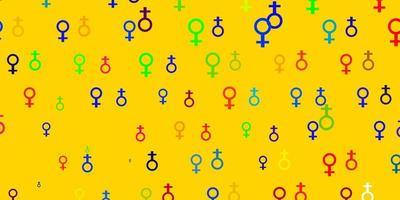 patrón multicolor con elementos feministas. vector