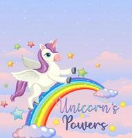 Blank banner with unicorn and rainbow