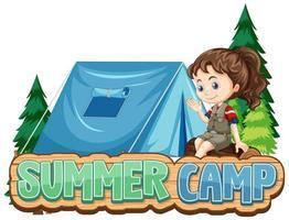 diseño de campamento de verano con niña y carpa. vector