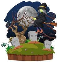 bruja montando escoba cerca del cementerio