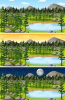 Forest and mountain landscape scene set