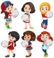 Cute young girl cartoon set