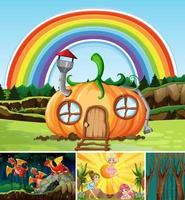 Four different scene of fantasy worlds vector