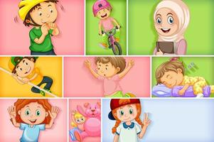 Set of different kid characters on different color background
