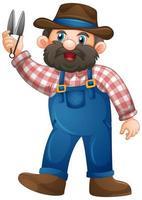 Anciano en personaje de dibujos animados uniforme de granjero sobre fondo blanco vector