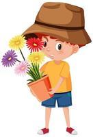 Niño sosteniendo flor en maceta personaje de dibujos animados aislado sobre fondo blanco. vector