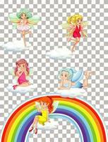 lindas hadas con arcoiris sobre fondo transparente vector