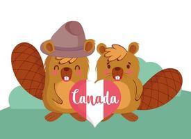 castores canadienses para la celebración del día de canadá