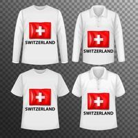 Conjunto de diferentes camisas masculinas con pantalla de bandera de Suiza en camisas aisladas