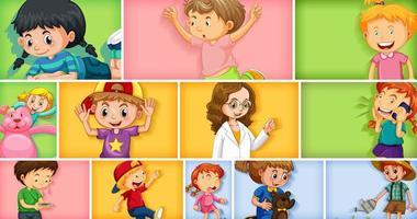 Conjunto de diferentes personajes infantiles sobre fondo de color diferente