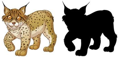 Set of lynx characters and its silhouette on white background